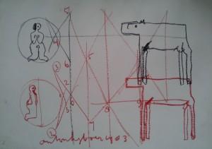 gemengde techniek op Geschept papier 100 x 60 cm (nr. 8)