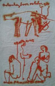olie op papier tekening 1980 60 x 100 cm (nr. 10)